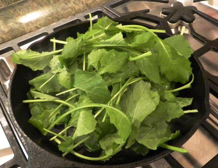 greens in pan