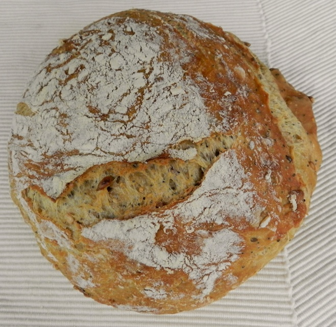 seeded no knead bread