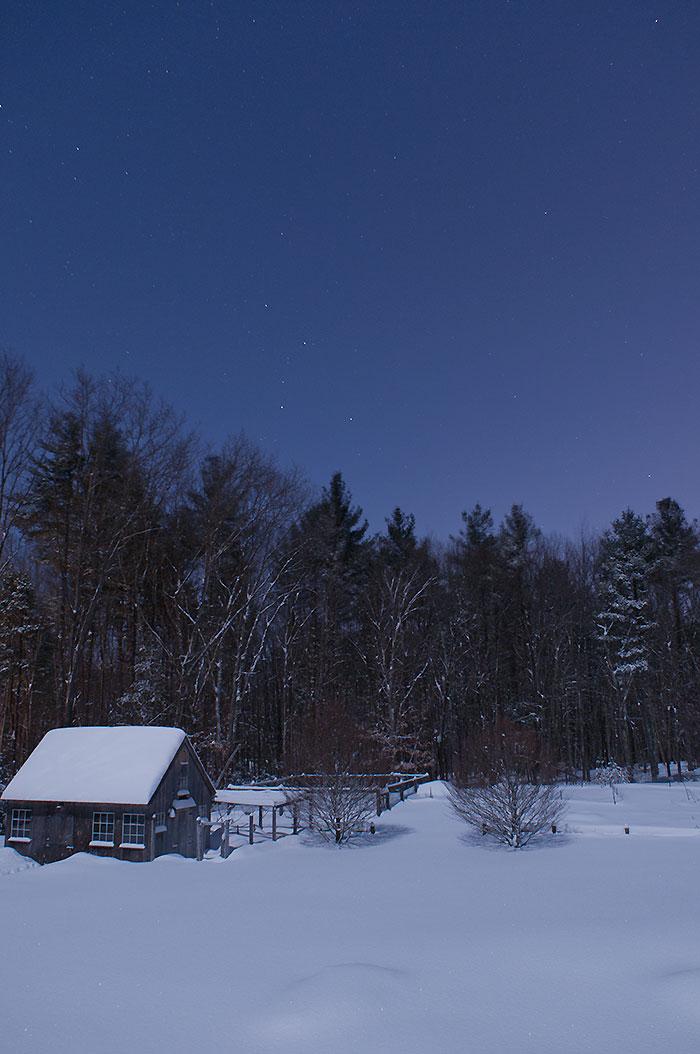 moonlit snow at Little Pond Farm