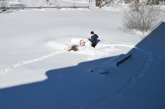 shoveling pond